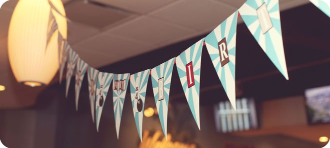 bowling bunting garland banner