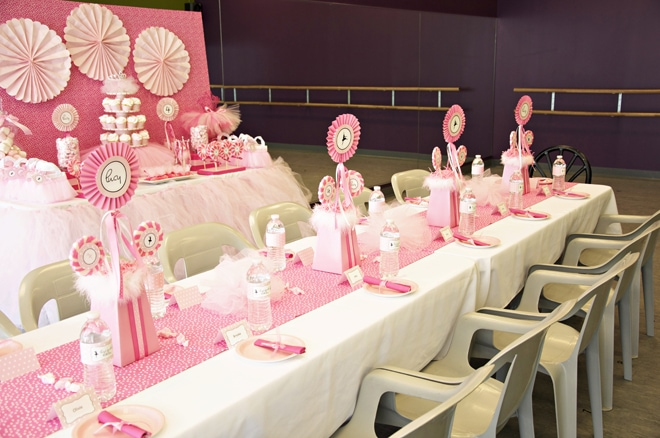 pink ballerina party table