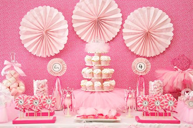 pink ballerina birthday party table