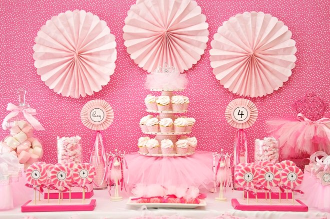 pink ballerina birthday party table