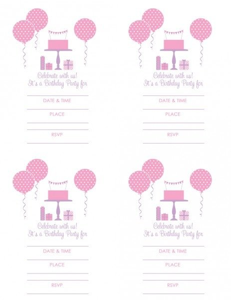 Girl Party Invitation Free Printables