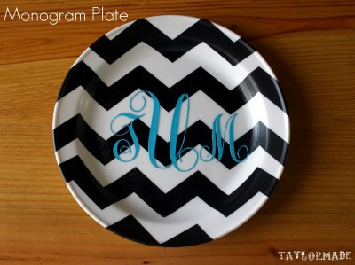 chevron monogrammed plate silhouette