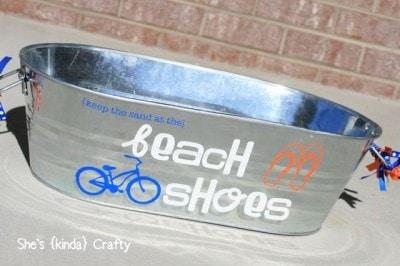 silhouette beach pail
