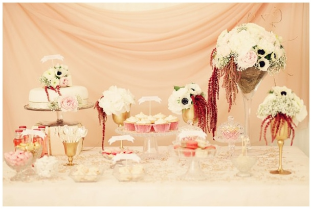 pink wedding bridal shower table