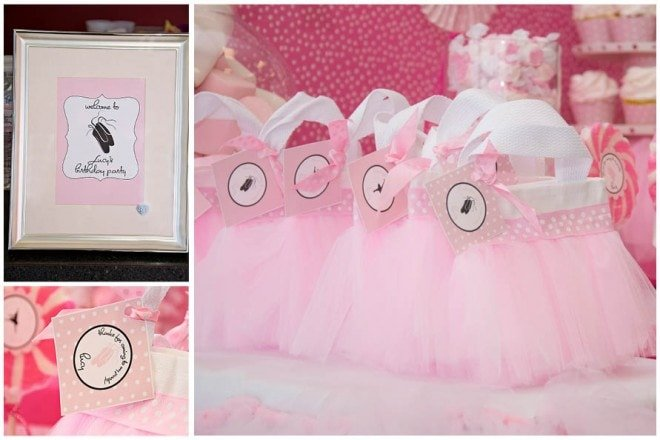 pink ballerina party favors