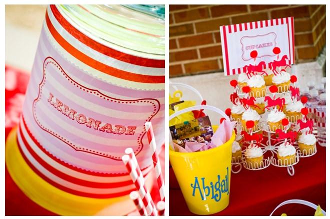 carnival cupcakes and lemonade