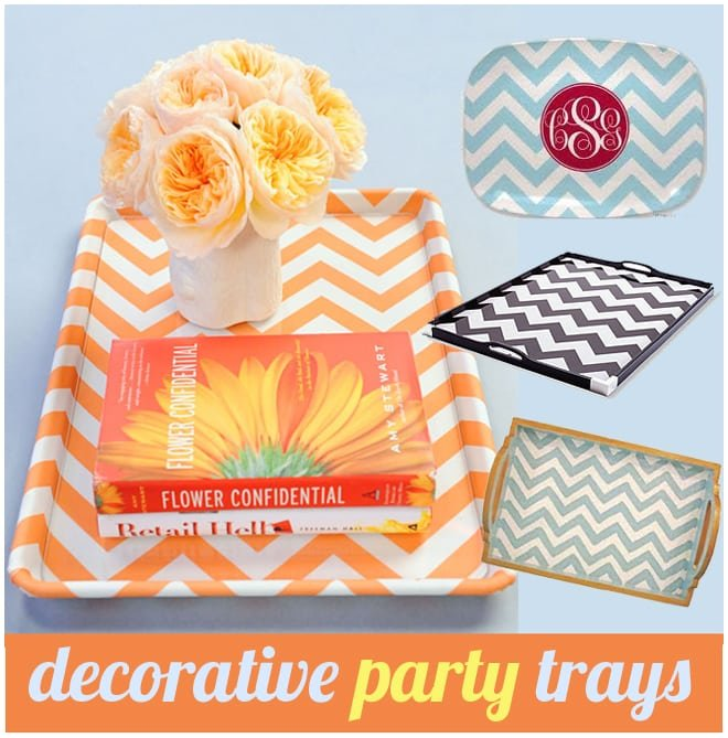 chevron print diy decorative party trays