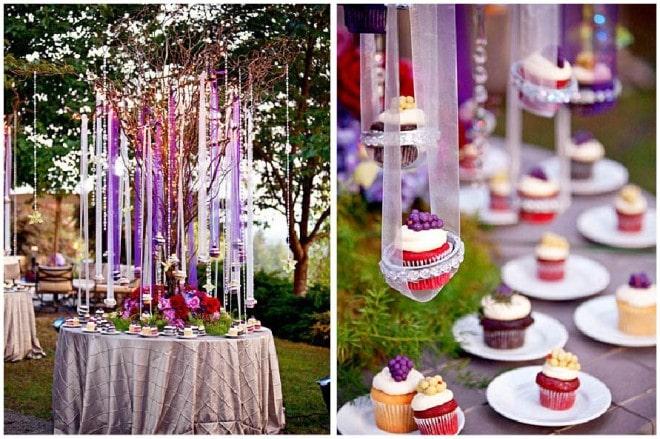 hanging cupcakes wedding reception