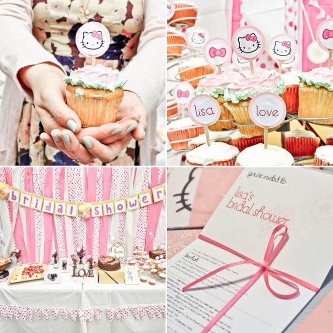 pink bridal shower party invitations