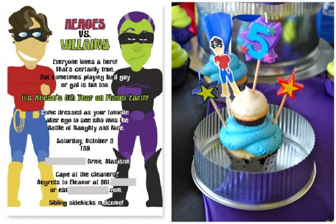 superhero birthday cake invitation