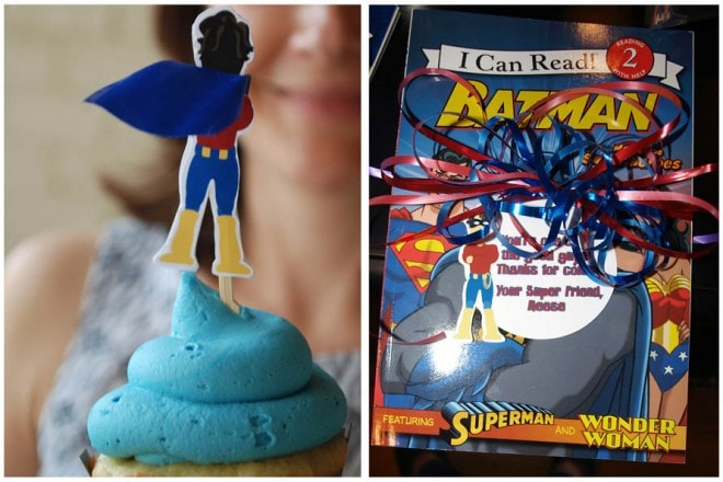 superhero party favors and cupcakes