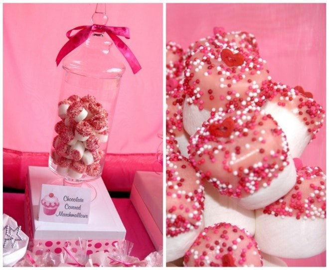 pink covered marshmallows
