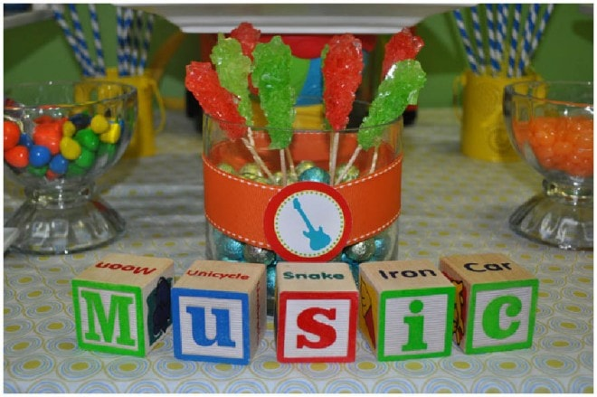 music block themed first birthday party