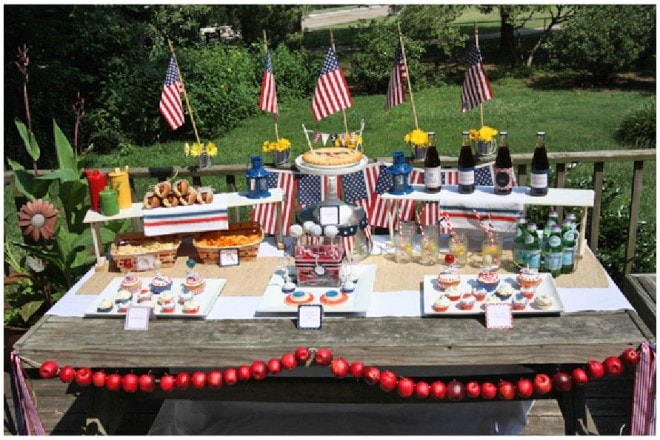 patriotic red white and blue party table