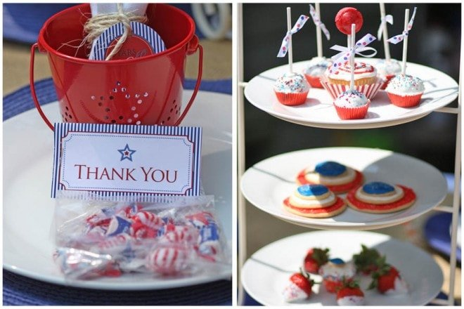 red white and blue cake stand