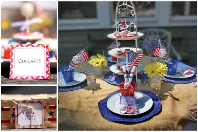 red white and blue table setting
