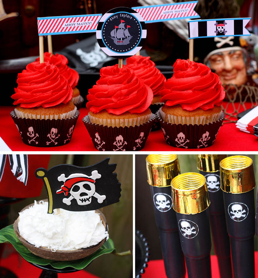 Caribbean Dinner Party Menu Ideas Part - 48: Pirate Birthday Party Cupcakes