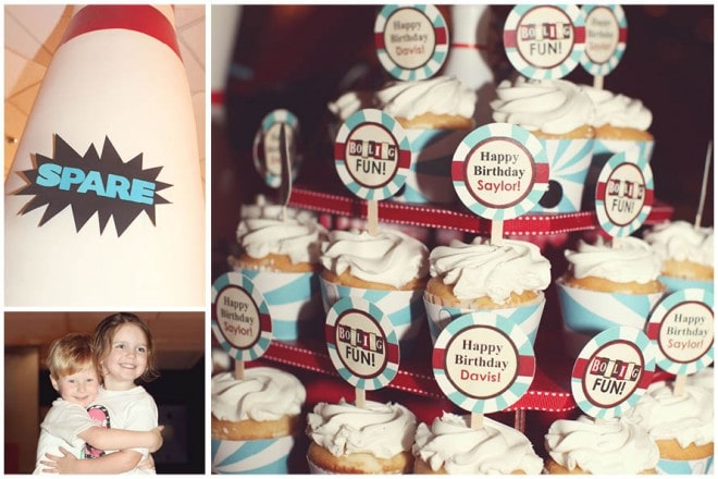 retro bowling party cupcakes