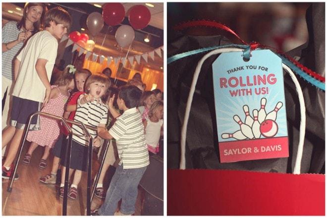 retro bowling party favors
