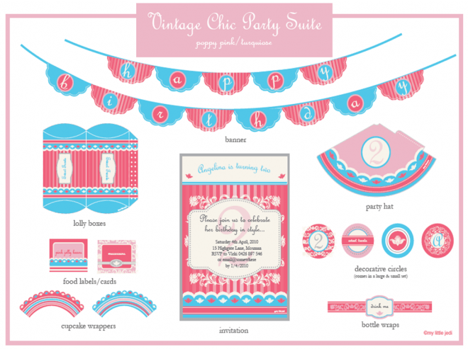 turquoise pink party printables