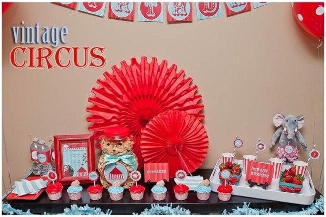 red aqua vintage circus birthday party