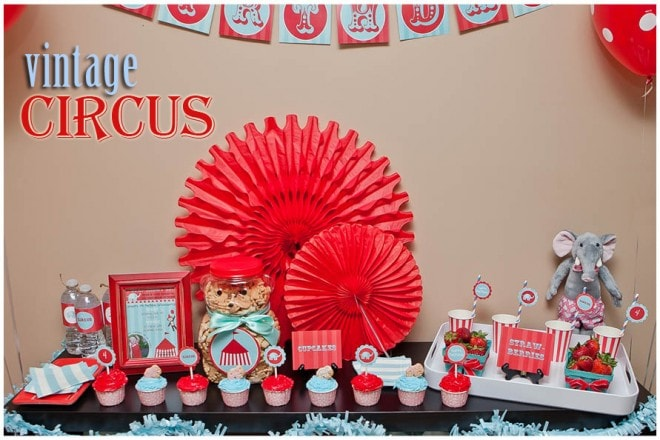 red aqua vintage circus birthday party