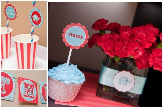 vintage circus party centerpieces