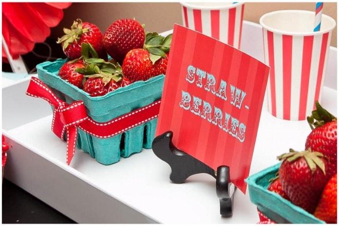 vintage circus party strawberries
