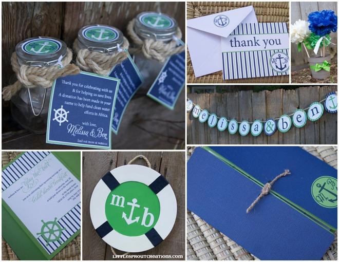 blue green nautical wedding shower