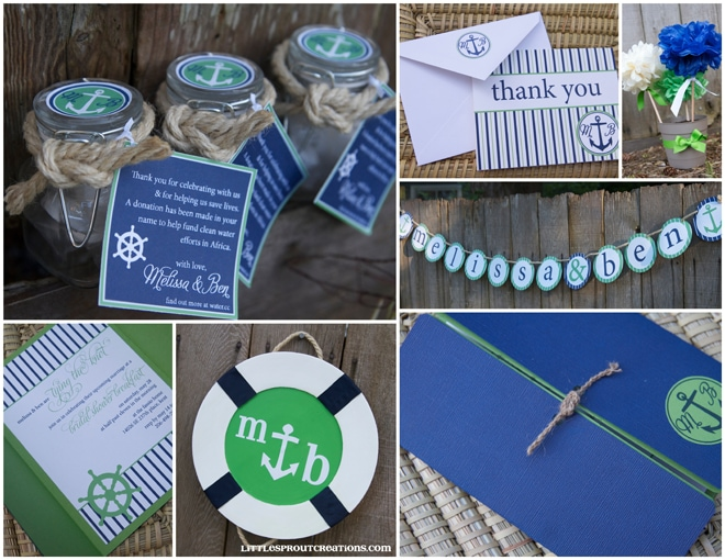 blue green nautical wedding shower