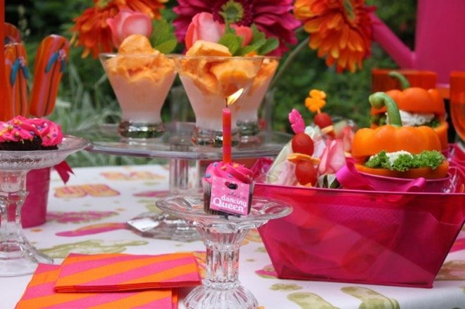orange and pink tablescape