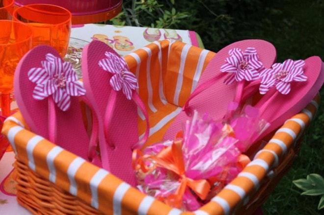 pink party flip flops