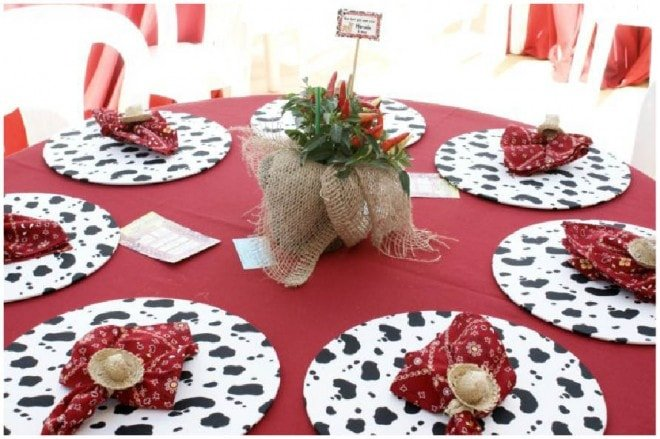 country birthday table settings