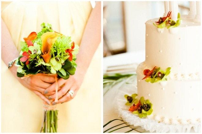 destination wedding cake bouquet