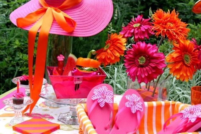 pink orange girls' summer party