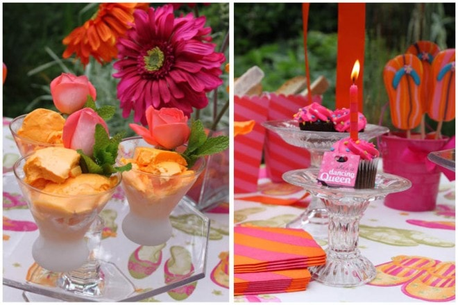 pink orange tablescape