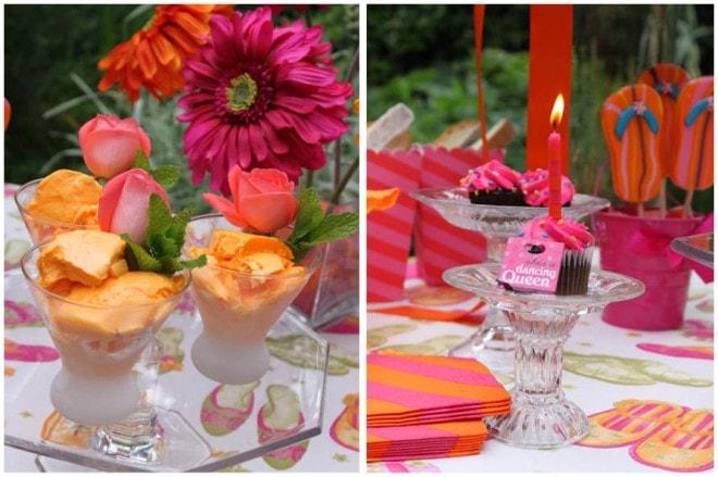 pink orange tablescape