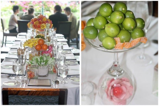 lemon lime centerpieces