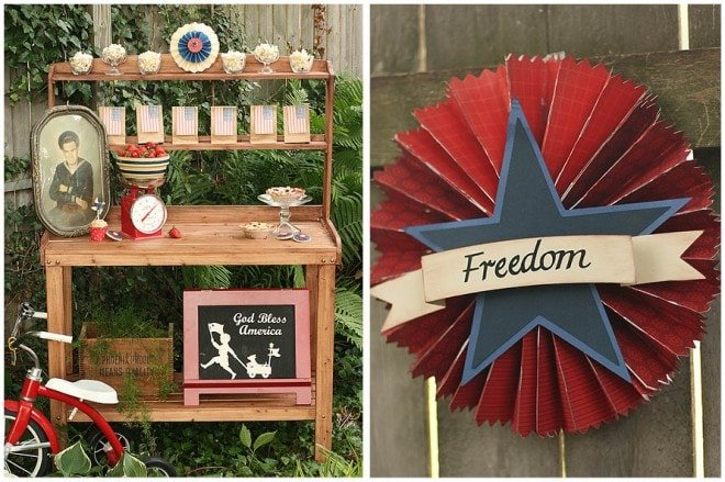 vintage july 4th party tablescape