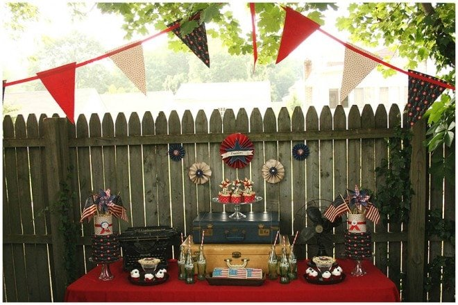 Vintage WWII July 4th Dessert Table