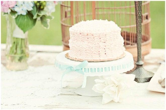 pink ruffled wedding cake
