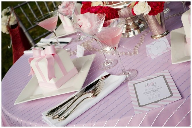 pink white striped tablescape