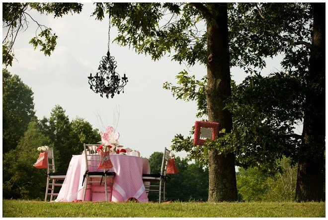 pink and white romantic tablescape