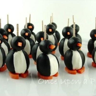 olive cream cheese penguins