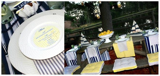 summer stripes tablescape
