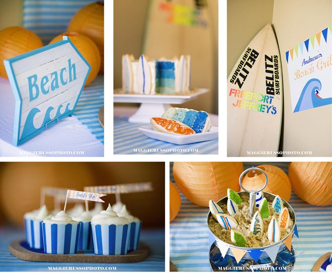 7 year old birthday surfer themed
