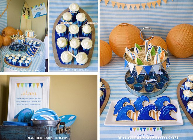 surfer themed cookies birthday