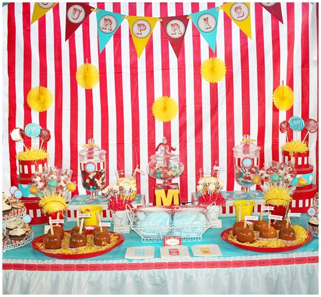 summer striped carnival party tablescape