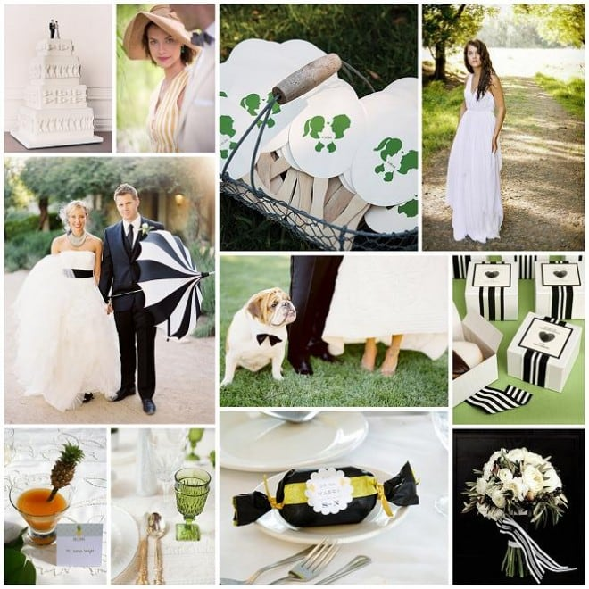 black white stripes kelly green wedding inspiration board