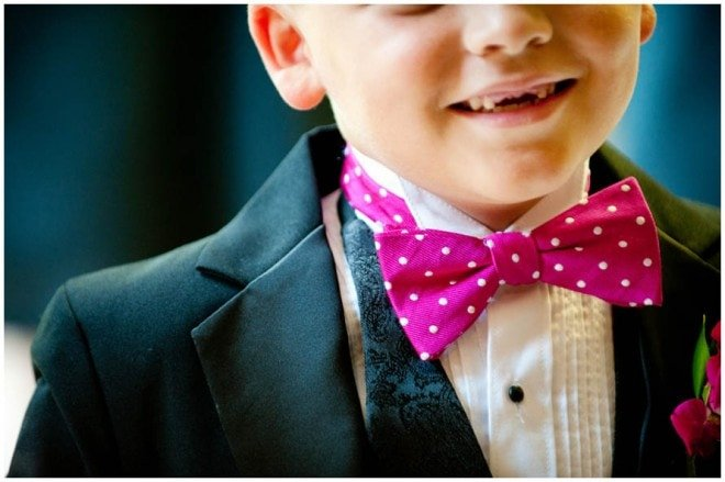 pink dot bow tie ring bearer
